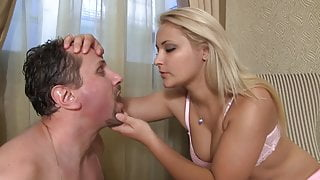 princess blondie rub her spit in joschis face