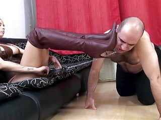 High heel boots porn sex - Brown high heel boots in his face