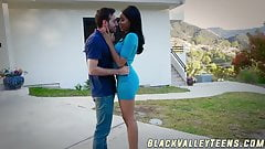 Ebony schoolgirl Jenna Foxx takes a ride on hard cock
