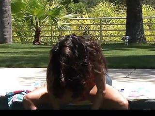 Bikini busty hot - Hot busty milf in bikini stripping outdoors by pool