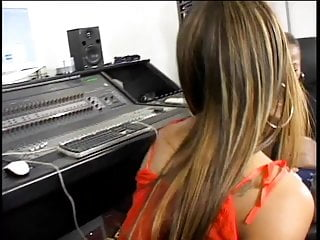 Lesbian strap-on fetish Ebony chicks fucking with a strap on at the studio