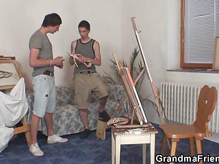 Teen threesome video Old grandma and boys teen threesome