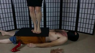 Bouncing on Foot Slave's Balls Barefoot