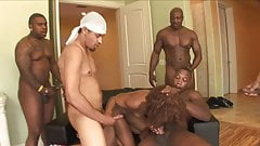 Black Monster Gangbang with a lot of cum