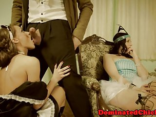 Cock sucking man servants movie Servant babes dominated by masters cock