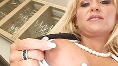 Big blond MILF gets her holes filled