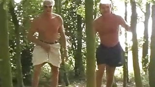 Old men fuck cutie in a forest