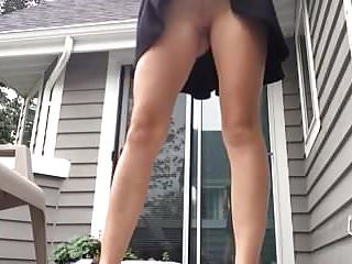 Koala pees on queen Milf pees on porch standing