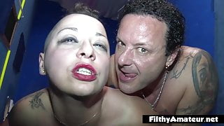 Orgy in the club with 2 squirting girls who love group sex