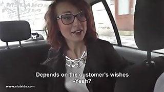 Redhead MILF does handjob, BJ and fucks with taxidriver