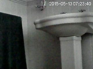 Home cam of porn undressing - Partner on hidden cam in bathroom getting undressed to wash