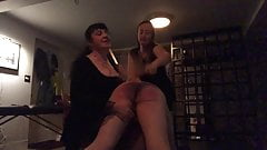 Mistress Brigitte & Miss Jenn Dish Out a Paddling