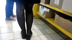 spy milf legs in black pantyhose