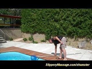 Poolboy fucked Poolboys first slippery nuru massage fuck