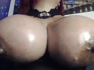 Deepthroat drool - Camwhore deepthroats dildos and drools on her big tits