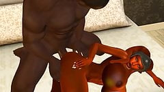 Huge breasted orange Twi'lek taking it up her ass