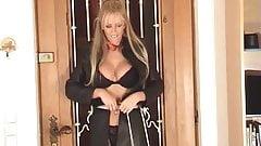 Lucy Z tied to door . . .