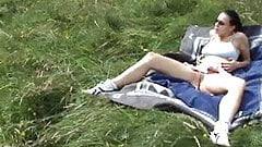 Slut's So Horny And Takes a Fat Guy On The Meadow