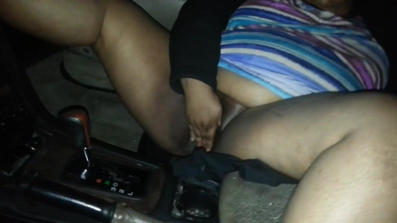 Ebony Solo Car Masturbation