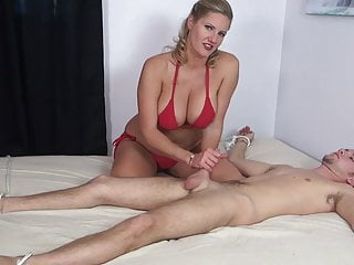 Torturing tits Made handjob with post-orgasm torture