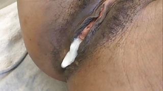 Little black amateur pussy gets creampied by white cock