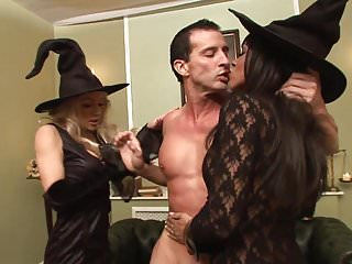 Women in black lingerie - Dude adrenalized to get both his women to orgasm