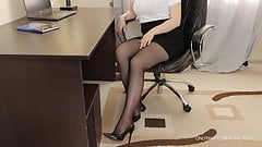 Teen secretary in pantyhose high heels fuck - cum on legs