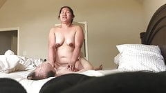 Chubby Asian Wife Riding Cock Big Brown Nipples Ass Part2