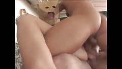 Julie Robbins double penetrated with a Paper Bag on her head