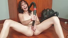 Skinny and Small Titted Cutiepie Vacuuming her Pussy