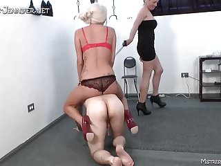 Ball stomping porn Two blonde femdom mistresses stomp the hell out of a guy