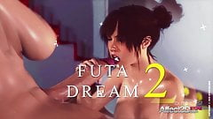 Big tits babe dreaming about a futanari anal sex with her gi
