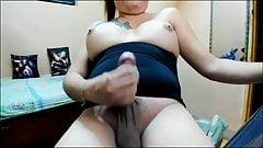 Sexy filipina with massive cock shoots load