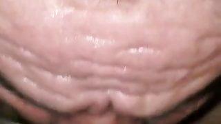 Weird grandpa getting fucked & sucking cock in sauna