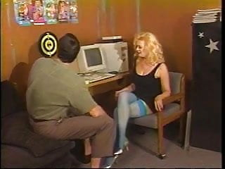 Busty thigh high Busty mature blonde in thigh-highs kneels to suck younger dudes cock