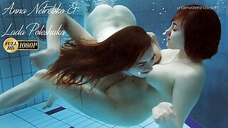 Two dressed beauties underwater Netrebko and Poleshuk