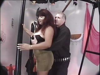 Clamped pussy closs up - Large tits get tied up and clamped