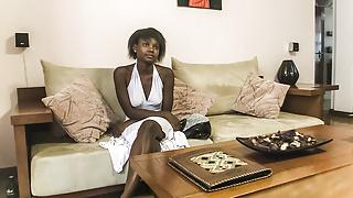 Petite ebony rides producer's cock mid casting