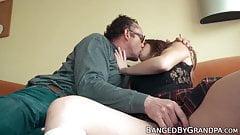 Gorgeous young babe seduces senior into doggystyle action
