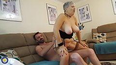 Grandma with big tits fucks guy