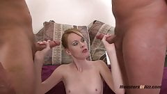 Skinny Slut Sucks Two Cocks