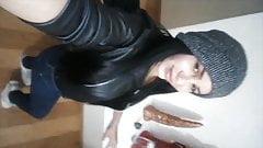 Argie Brunette shemale love to shoot selfies and shoot semen
