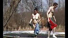 Trampoline fuck sex in mid air crazy