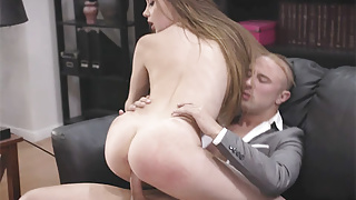 Teen daughter fucked by the boss of her father in his office
