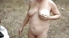 My old slut outdoor showing pussy and asshole