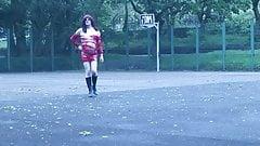 slutty red dress outdoors basketball court