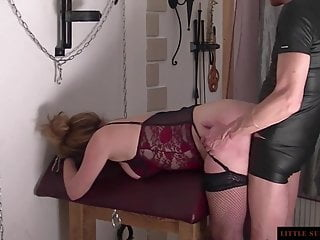 Spanked with a large paddle Little sunshine milf doggy caning with a large butt plug