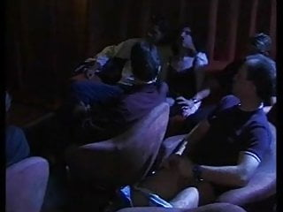 Orgy fun - 2 girls have group fun in a porn cinema