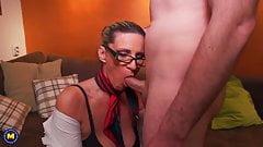 Busty nerd mature mother seduce son