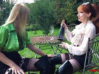 Mature licks - British redhead mature licks her hot girlfriend outside